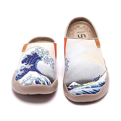 UIN Great Wave Off Kanagawa Slipper Damen Hausschuhe Lässige Wanderschuhe Leicht Loafer Schuhe Bemalter Reiseschuh Slip On Schuhe Canvas Weiß(42)