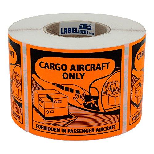 Labelident Transportaufkleber - Luftfracht/Cargo Aircraft Only - forbidden in passenger aircraft - 120 x 110 mm - 1000 Verpackungskennzeichen auf 76 mm (3 Zoll) Rolle