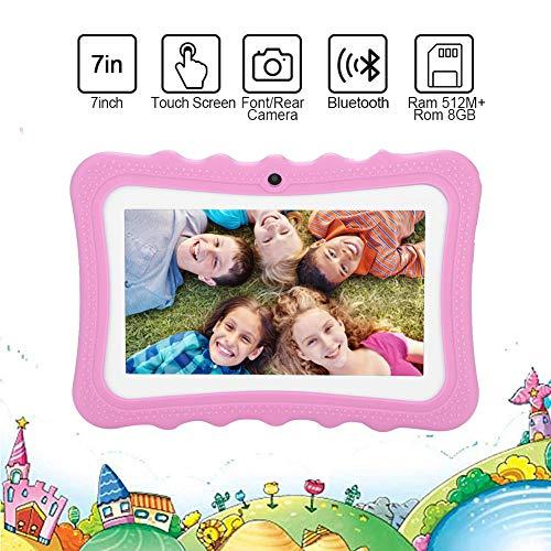 Diyeeni Kindertablet, Bluetooth WiFi Lerntablet Pad für Kinder mit 7 Zoll Augenfreundlicher Bildschirm, Dual Kamera, Android 4.4 Betriebsystem, Geschenk für Kinder