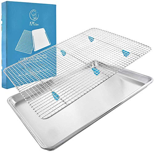 "Baking Sheet with Rack Set - (18"" x 13"" Pan / 16.8"" x 11.8"" Cooling Rack) Heavy-Duty Aluminum Cookie Half Sheets Oven Tray with Stainless Steel Roasting Wire - Includes Silicone Feet for Cooking Racks"