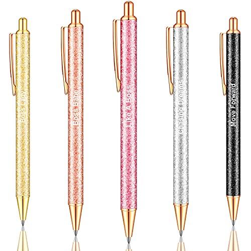 Bolígrafo con Citas Bolígrafo Brillante Inspirador Pluma Retráctil Motivacional para Dama para Mujeres Jefes Suministros de Escritorio Tinta Negra (5 Piezas)