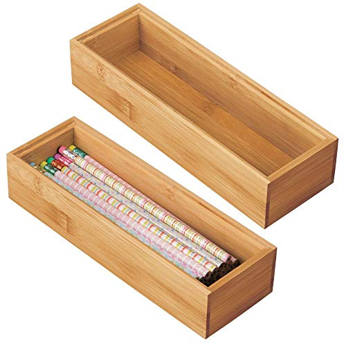 mDesign Juego de 2 cajas organizadoras para escritorio y cajón – Caja rectangular de bambú – Organizador de madera de para artículos de oficina y manualidades – color natural