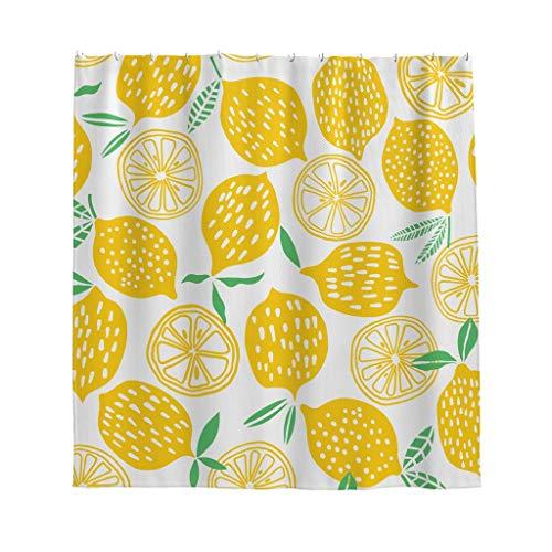 Zitrone Malerei Duschvorhang Anti-Schimmel Wasserdicht Polyester Modern Vintage Vorhang mit Haken für Badezimmer Weiß 150x200cm