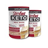 SlimFast Keto Meal Replacement Powder Vanilla Cake Batter - 12.2 Oz - Pack of 2 - Pantry Friendly