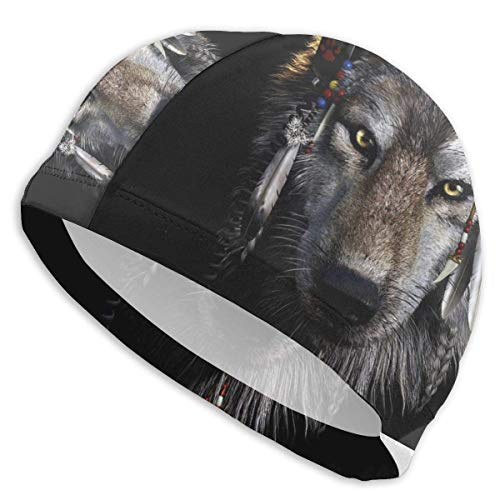 Tyueu Unisex Swimming Cap Native American Wolf Unisex Swim Cap Cool Swimming Caps for Long & Short Hair UV Swimming Hat for Adult Youth Junior Bonnet de Bain