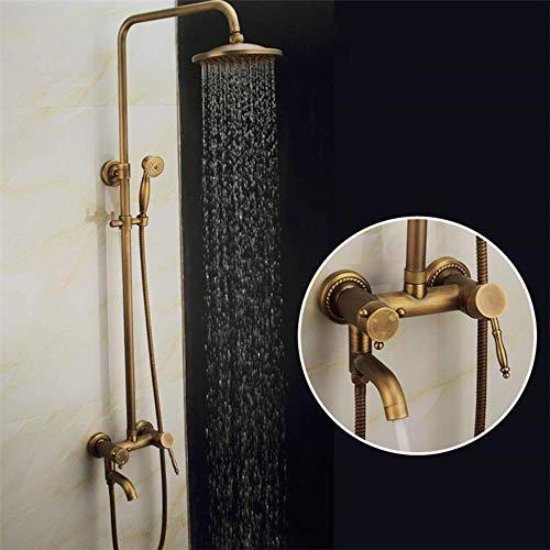BINGFANG-W Ducha cuarto de baño determinado juego de ducha de mano antiguo 3 Función Booster Ducha Sistema de elevación de Rod del grifo Round Top Spray de suministro de agua Ducha