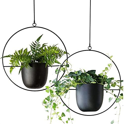 VDYXEW Metall Hängend Blumentopf ,Hängende Pflanzgefäße für Innen- und Außenpflanzen mit Haken aus Metall,Hängende Blumenampel für Heimdekoration, ,schwarz (2 pcs)