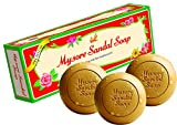 Jabón ayurvédico Mysore de aceite de sándalo natural puro, 3 barras de 150 g en 1 paquete de regalo