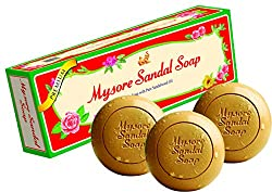 Contains pure natural Mysore sandalwood oil with skin care moisturizers. Quantity: 3 Soap bars Long fresh fragrance of sandalwood oil Keeps your skin glowing and soft