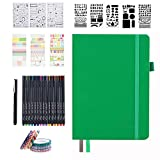 Dotted Journal Set, 224 Numbered Pages Faux Leather A5 Grid Hard Cover Green...