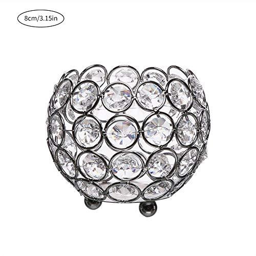 Valentijnsdag kristal waxinelichthouder kandelaar/metalen kandelaar voor woning kandelaar decoratie, geschikt met LED-theelichtjes kaarsen 8cm zilver