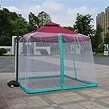 Parasol Gazebo Umbrella Su parasol en un Gazebo 9 / 10FT Mosquitera Paraguas Cubierta de pantalla 300x300cm Cerramiento exterior Insectos Mosquitos Patio Cubierta de red de picnic (Color: Blanco)