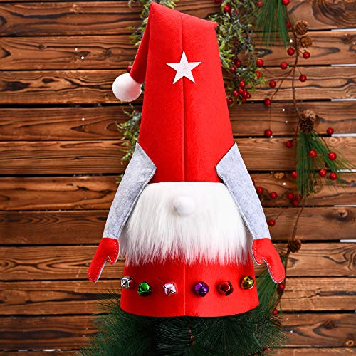 Christmas Gnome Tree Topper Decorations Plush Scandinavian Christmas Decorations Gnome Christmas Ornaments Red Swedish Tomte Gnome Tree Toppers for Xmas Decorations Holiday Party Home Decor