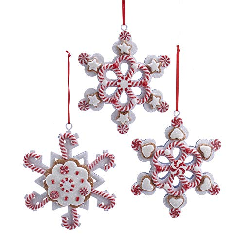 Kurt Adler 4.5' Set of 3 Claydough Snowflake Peppermint Ornaments Glitter Candy Gingerbread Christmas Tree Holiday Decoration Red White D3620