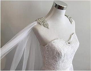 "RLYBDL Cape Veil Rhinestone Appliques on Shoulders_ 108""W X 120"" (3 Meter) Long, Bridal Shoulder Veil In White, Ivory (SZ089JS) (Color : Ivory, Item Length : 250cm)"
