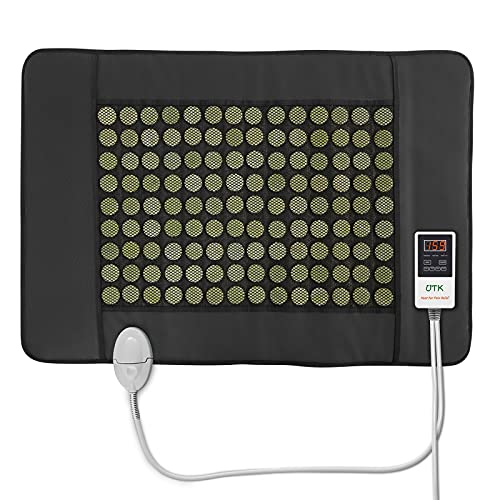 """UTK Jade Far Infrared Heating Pad for Back Pain and Cramps Relief, Infrared Hot Therapy for Sciatica, Arthritis - Medium [21""""x31""""], 126 Jade Stones, Adjustable Temp, Auto Off and Travel Bag"""