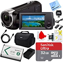Sony Handycam CX405 Flash Memory Full HD Camcorder Bundle with 32GB Memory Card, Camera Bag, HDMI Cable and Accessories (8 Items)