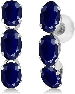 Gem Stone King 14K White Gold Blue Sapphire Hoop Earrings 3.30 Ct Oval Gemstone Birthstone
