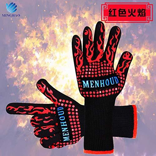WenX-handschoenen voor hoge temperaturen, grillhandschoenen, barbecuehandschoenen voor de keuken met magnetronfornuis rood