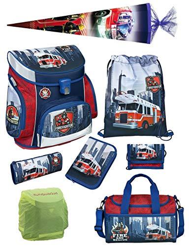 Familando Scooli Schulranzen-Set 8 TLG. Feuerwehr-Auto mit Federmappe, Sporttasche, Schultüte 85cm und Regenschutz Fire-Fighter