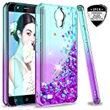 AT&T AXIA Case (QS5509A), Cricket Vision Case with HD Screen Protector for Girls Women, LeYi Glitter Bling Moving Quicksand Liquid Clear Phone Case for AT&T AXIA 2018 ZX Teal/Purple