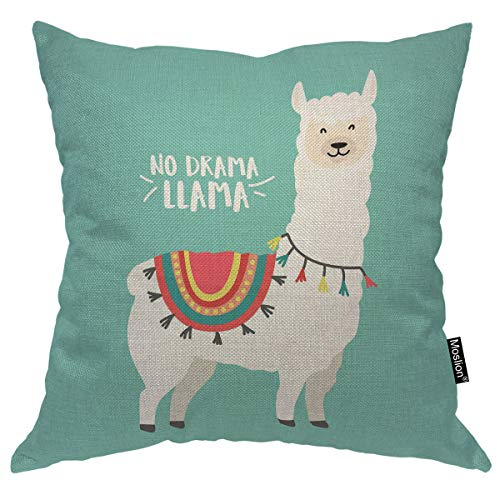 Moslion Llama Pillows Cute Cartoon Animal Llama Alpaca with Ethnic Cloth No Prob Llama Motivational Quote Green Throw Pillow Cover Decorative Square Accent Cotton Linen Home Pillow Case 18X18 Inch