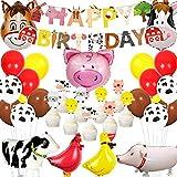 Kit de decoración de cumpleaños de animales de granja con globos de granja de granero, pancarta de feliz cumpleaños para decoración de cupcakes para granero de 1ª 2ª fiesta de cumpleaños
