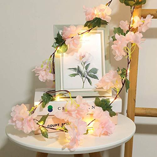 I3C Cadena de Luz con Motivo Floral, Ratán Verde, Alambre de Cobre, Hada, Cadena de Luz LED, para Decoración de Boda, Fiesta, Dormitorio, 2 m, 20 Rosa, Blanco y Rosa