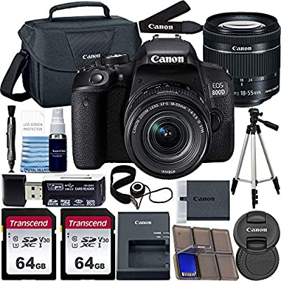 Canon EOS 800D DSLR Camera with 18-55mm is STM Lens with Preferred Accessory Bundle – Includes 2X 64GB SD Memory Cards + Canon Carrying Case + Tripod + Card Reader + More