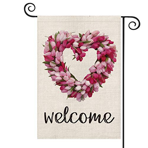 AVOIN Welcome Tulip Love Heart Valentine's Day Garden Flag Vertical Double Sized, Holiday Anniversary Wedding Mother's Day Yard Outdoor Decoration 12.5 x 18 Inch