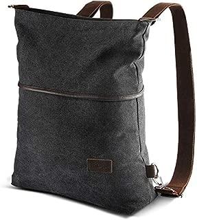 AtailorBird Canvas Backpack Casual Women Purse Vintage Anti-Theft Shoulder Bag Crossbody Bag Tote Handbag Rucksack,Black