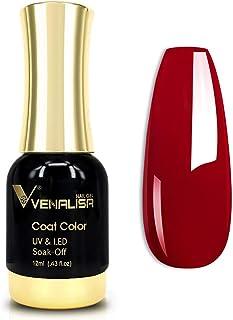 VENALISA Gel Nail Polish, 12ml Claret-Red Color Soak Off UV LED Nail Gel Polish Nail Art Starter Manicure Salon DIY at Hom...
