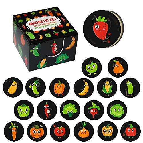 MAGDUM 20 Cucina Fridge Calamite Frutta&Verdura-magneti per Lavagna&Frigorifero-Ufficio magneti-Emoji Frigo Magneti Decorazione per Casa,Cucina,Scuola-Giocattoli Educativi per Bambini-MIGLIOR Regalo