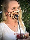 Handmade Fabric Face Mask Wine Sipper with Straw Hole