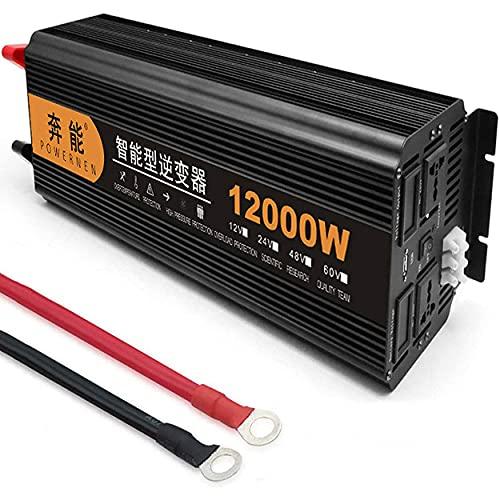 CHEIRS 5000W 6000W 8000W 9000W 12000W 15000W Inverter di Potenza sinusoidale Pura DC 12V/24V a AC 220/240V Convertitore sinusoidale con Doppia Uscita AC e per Porte USB,12000W-24V