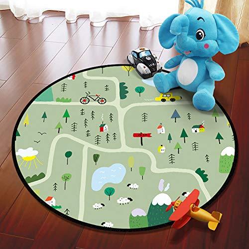 Ronda de los Niños juega las esteras, Área de Educación Infantil moderna Alfombras, antideslizante suave piso de la alfombra por los cuartos de los niños de la Decoración del Cuarto (A,100*100cm)