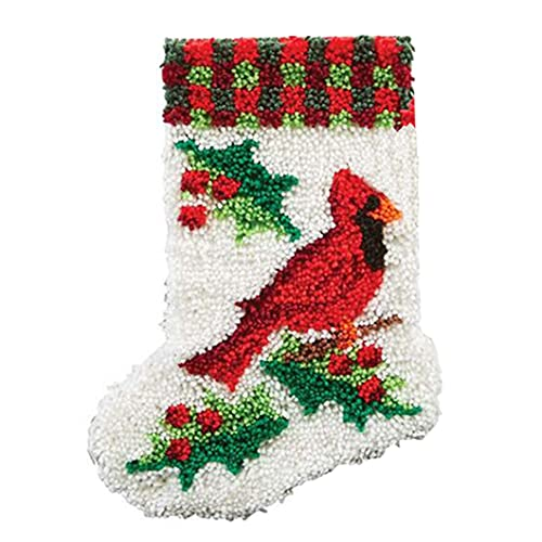 ZYUN DIY Latch Hook Rug Kits, Los Coloridos Adornos de Calcetines Calcetines de Navidad de Bricolaje Kit de Ganchillo Alfombras para Adultos, Alfombras de Crochet