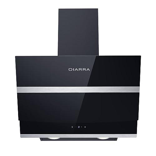 Ciarra Hotte aspirante 60cm - Hotte de cuisine inclinée - Max débit 750 m3/h - 3 Vitesses - Commande Tactile - Recyclage/Evacuation - LED Affichage - Hotte à charbon - verre et inox noir
