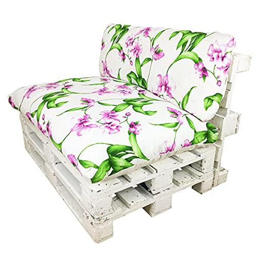 Happy Life Conjunto de Cojines (Asiento + Respaldo) para Muebles de Palets. Ideales para Uso en Interiores o Exteriores. Decora tu Teraza, Jardín, Balcón (Orquídeas)