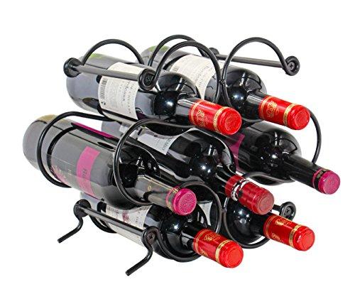 PAG Weinregal Metall Weinregal, freistehend zinntheken Weinflaschenhalter Regal mit Griff für Aufbewahrung und Display, Schwarz, 7 bottle