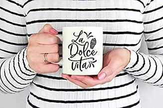 HAPPINESS MUG, La Dolce Vita Mug Ice cream coffee mug Sweet life tea cup Italian quote mug Funny coffee mug Summer mug with saying Ceramic mug Gift for her