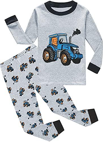 EULLA Kinder Jungen Schlafanzüge Langarm Baumwolle Dinosaurier Traktor Rakete T-Rex Auto Zweiteiliger Pyjama Set Nachtwäsche Garu Traktor 98