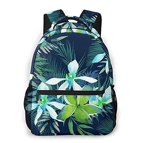 DJNGN Mochila informal con estampado de flores tropicales, mochila clásica para viajar con bolsillos laterales para botellas