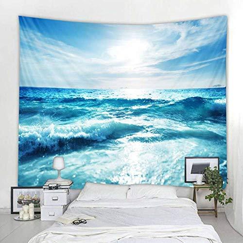 wymhzp Blauer Meerwasser-Wandteppich Indischer Mandala-Wandteppich Wandbehänge Boho Schlafzimmer Wandteppich Couchdecke 150x100cm