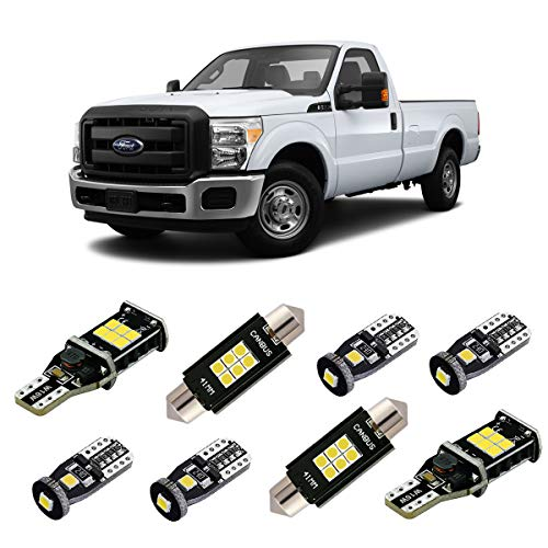 iBrightstar Super Bright Canbus LED Bulbs Package Kit for 1999-2016 Ford F250 F350 Super Duty Interior Map Dome Lights + Door Lights + Cargo Lights + License Plate Lights, Xenon White