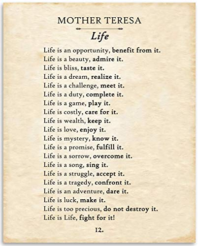 Mother Teresa - Life Is An Opportunity - 11x14 Unframed Typography Book Page Print -Great Inspirational and Spiritual Gift and Decor for Poetry Fans, Classroom and Home Under $15