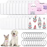 Sublimation Blank Aluminum Dog Tag Double Sided Sublimation Pet Tag Blank Craft Dog Tag Rectangle Blank Pet ID Tag with Key Ring for Pet Dog and Cat Personalized Supplies (20 Pieces)
