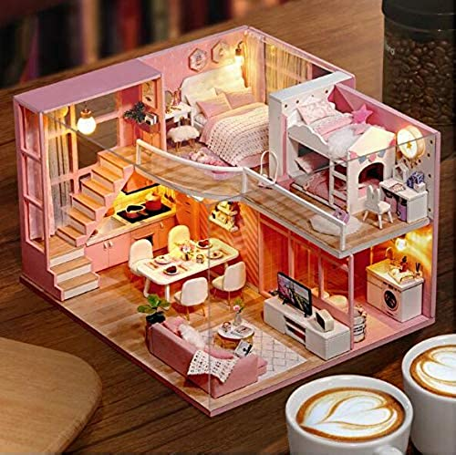 DIY Dollhouse Miniature Cute Room Wooden Building with Furniture L026 Dream Angel Toy Gift for Kids 24x20x15cm