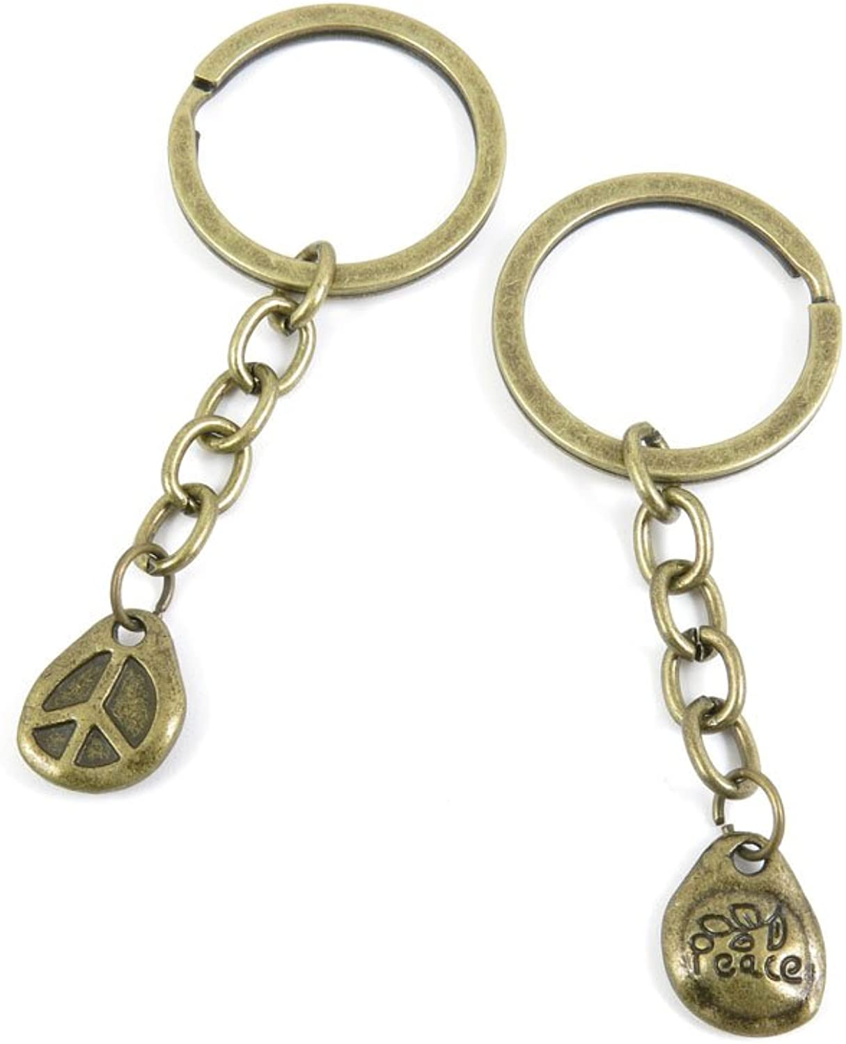 100 PCS Keyrings Keychains Key Ring Chains Tags Jewelry Findings Clasps Buckles Supplies U3LI3 Peace Anti War Signs Drop
