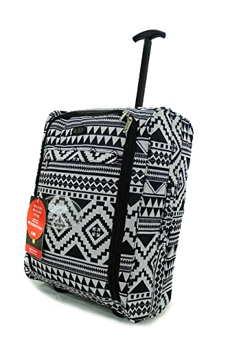 Super Lightweight Cabin Approved Luggage Travel Wheelie Bag suitcase Trolley Cabin Approved Case 50x40x20 Easyjet Ryanair (Geomtrik Black)